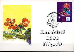 CP -cachet 12ème Festival BD Ciné Du 10 Au 11/11/96 à ILLZACH - Bandes Dessinées