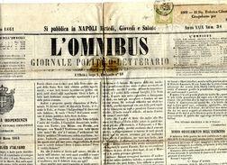 """Napoli-00114 - Giornale """"Omnibus"""", Recante Un Francobollo Da Mezzo Tornese, Emesso Per Le Province Napoletane. - Napoli"""