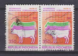 Indonesie, Indonesia 1285 Pair Used ; Koe, Cow, La Vache, Vaca 1987 NOW MANY STAMPS OF ANIMALS - Koeien