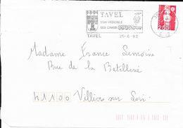 GARD 30 -  TAVEL   - FLAMME  TAVEL / SON VIGNOBLE / SES CAVES  - THEME VIGNOBLE   1992 - Marcophilie (Lettres)
