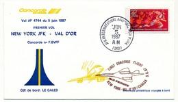 ETATS UNIS - CONCORDE - Premier Vol  NEW YORK JFK / VAL D'OR (Canada)  - 5 Juin 1987 - Concorde