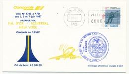 CANADA - CONCORDE - Premier Vol  VAL D'OR - MONTREAL - NEW YORK JFK    - 5/6/7 Juin 1987 - Concorde