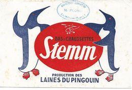 Buvard Bas Et Chaussettes Stemm. Production Des Laines Du Pingouin. (Cachet Evin-Malmaison) - Textile & Vestimentaire