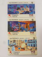 Set Of 3 Pcs. 90s' Singapore Telecom Phonecard -  Asia Telecom 93 TAS  (#37) - Tarjetas Telefónicas