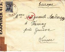 LETTRE CENSUREE POUR LA SUISSE - 194! - VIA PARAGUAY - Argentine