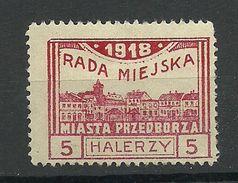 Poland Polska 1918 Local Post Przedborz Michel 15 B (Perf 11 1/2) MNH - ....-1919 Provisional Government