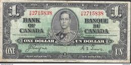 CANADA  P58  1  DOLLAR   1937   FINE NO P.h. ! - Canada