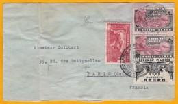 1936  -  Enveloppe Scellée Par Avion Du Mexique Vers Paris, France - Affrt Timbres Poste Aérienne 2 P 25 C - Cad Arrivée - Mexico