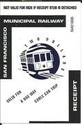 Ticket Cable Car, San Francisco Municipal Railway (Californie) One Way - Two Dollars - Chemin De Fer - Chemins De Fer