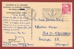 Slogan Troupes Coloniales Cachet à Date Renversé Strasbourg 1950 - Militaria