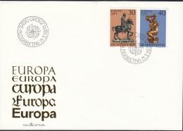 LIECHTENSTEIN 600-601, FDC, Europa CEPT 1974, Skulpturen - Europa-CEPT