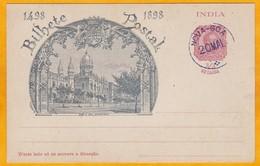 1898 -   Entier Postal CP Illustrée 1/4 Tanga Avec Oblitération De Nova Goa - Inde Portugaise - 4 E Centenaire - Inde Portugaise