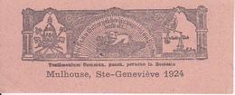 Testimonium Commun. Pasch. Peractae In Eclesia Mulhouse Ste-Geneviève 1924 - 10*4cm (29472) - Kommunion Und Konfirmazion