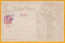 1898 -   Entier Postal CP Illustrée 1/4 Tanga Avec Oblitération De Nova Goa - Inde Portugaise - Inde Portugaise