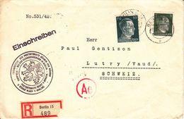 LETTRE CENSUREE POUR LA SUISSE - 1942 - CACHET DU PROTECTORA DE BOHEME UND MORAVIE..(plis Central) - Germany