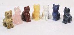 7 Katzen-Figuren In Verschieden Mineralien/Halbedelstein (460) - Sculptures