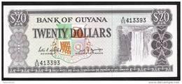 GUYANA  P27  20 DOLLARS  1989 Signature 7  UNC. - Guyana