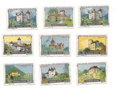 V18 - Chocolats Nestlé Peter Cailler Kohler Châteaux Suisses  9 Vignettes Publicitaire - Publicités