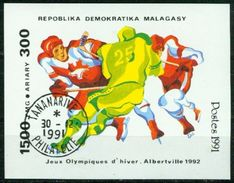BM Madagaskar 1991 | MiNr Block 174 | Used EST | Olympische Winterspiele, Albertville, Eishockey - Madagascar (1960-...)