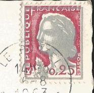 TIMBRE MARIANNE DE DECARIS 0.25 -EFFIGIE GRIS FONCE DECALEE SUR CP - LE PORTEL -LE PHARE -OBLIT. 6.8.1963 - Curiosidades: 1960-69 Usados