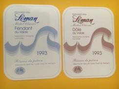 4343 - Restaurant-Grill Le Léman Michel Claivaz Valais Suisse Fendant & Dôle 1993 2 étiquettes - Soccer