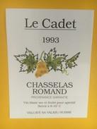 4352 -  Le Cadet 1993 Chasselas Romand Suisse - Etiquettes