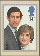 Prince Of Wales And Lady Diana Spencer, 14p, 1981 - Royal Mail Stamp Card PHQ 53a - Stamps (pictures)