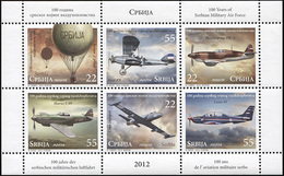 Serbia. 2012. 100 Years Of Serbian Military Air Force (MNH OG **) Miniature Sheet #DLC.ST-000823 - Serbia