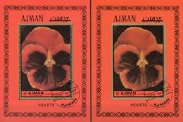 Violette Veilchen 1970 Adschman Blocks 466 A+B O 10€ Imperf.Blumen S/s Nature Blocs Flower Violets Sheets Ms Bf VAE - Pflanzen Und Botanik
