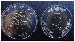 2013 LITHUANIA 5 LITAI 2013 BIMETALLIC COIN UNC FROM Mint ROLL - Litouwen
