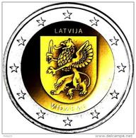 2 Euro Lettland Latvia 2016  Region Vidzeme -  LION / DRAGON SABER - COIN UNC FROM MINT ROLL - Lettonie