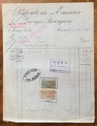 PARIS BIJOUTERIE EMAUX GEORGES BOURQUIN FATTURA CON MARCHE DA BOLLO DEL 1920 - Francia