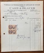 PARIS CAHN & BLAUER  FABRIQUE DE MAROQUINEIRE ET ARTICLES DE VOYAGE Fattura Con Marche Da Bollo Del 1927 - Francia