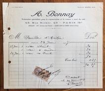 PARIS A.BONNAY TEINTURIER SPECIALISTE POUR  REGENERATION ET LA REMISE A NEUF  DU EUIR  Fattura Con Marche Da Bollo 1927 - Francia