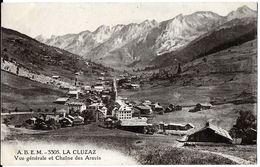 LA CLUZAZ 74 HAUTE-SAVOIE A.B.E.M 3305  VUE GENERALE ET CHAINE DES ARAVIS  ECRITE CIRCULEE 1921 DOS VERT - La Clusaz