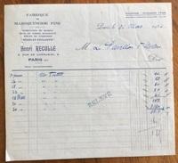 PARIS HENRI' RECULLE'   FABRIQUE DE MAROQUINEIRE FINE  Fattura  Del 1926 - 1900 – 1949