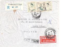 4012 PHNOMPENH Lettre Recommandée Par AVION Ob 18 11 1959 SM Norodom SURAMARIT Et La Reine 9 F Dest PARIS - Kambodscha
