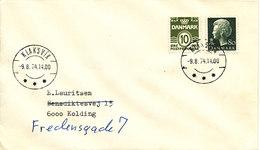 Faroe Islands Cover With Danish Stamps Klaksvik 9-8-1974 Sent To Denmark - Faroe Islands