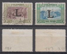 Colombia Mi# 586-87 Used Airmail 1950 LANSA L Overprint - Colombia
