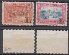 Colombia Mi# 610-11 Used Airmail 1951 LANSA L Overprint - Colombia