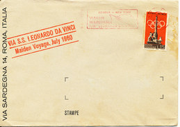 Italy Ship Cover S.S. Leonado Da Vinci Maiden Voyage Genova - New York July 1960 (the Stamp Is Missing A Corner) - 1946-.. République