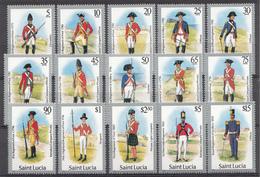 St. Lucie 1985 Mi. Nr.:748-762 Militäruniformen  Neuf Sans Charniere / Mnh / Postfris - St.Lucie (1979-...)