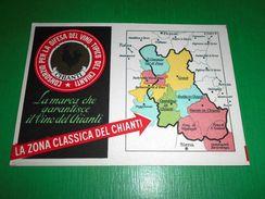 Cartolina Enologia Vino Chianti - Cartina Della Zona Del Chianti 1960 Ca - Advertising
