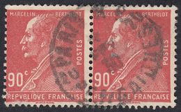 FRANCE Francia Frankreich -  1927 - Due Valori Obliterati, Identici, Uniti Fra Loro Yvert 243, Rosso, 90 Cent. - France