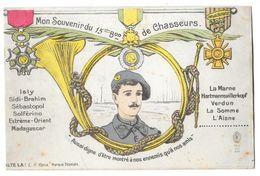 Carte Souvenir 15ème Bataillon De Chasseurs - Régiments
