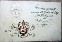 LEON XIII HOMMAGE AU PAPE POUR SES 90 ANS CARTE GAUFREE AUX ARMES PAPALES - Papes