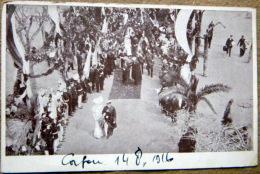 GRECE CORFOU CEREMONIE DE MARIAGE  14 AOUT 1916  DEFILE ET OFFICIELS - Grèce