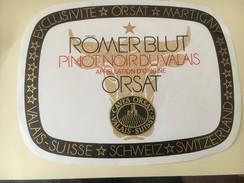 4376 - Römer Blut Pinot Noir Du Valais Caves Orsat  13 étiquettes Différentes (format, Couleur) Voir Description - Etiquettes