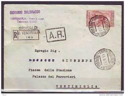 ITALIA - ITALY -  LEONARDO DA VINCI £80 ISOLATO RACCOMANDATA   - 1953 - 6. 1946-.. Repubblica