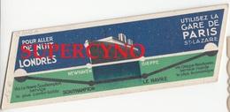 MARQUE PAGES GARE DE PARIS ST LAZARE RESEAU DE L'ETAT LONDRES VICTORIA NEWHAVEN DIEPPE SOUTHAMPTON - Bookmarks